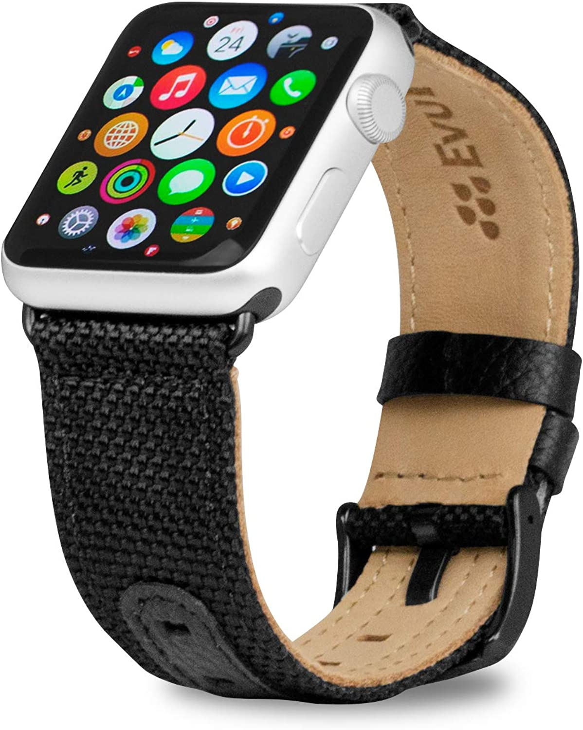 Evutec Band Compatible with Apple Watch Band 42mm 44mm, Genuine LeatEvutec Band Compatible with Apple Watch Band 42mm 44mm, Geher iWatch Replacement Strap Series 4, Series 3, Series 2, Series1 (Black)