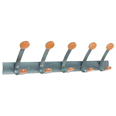 Alba PMV5 - Perchero para pared (5 perchas, metal y madera ...