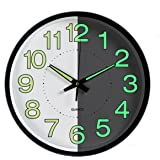 Night Light Function Clock, Foxtop 12-Inch Luminous Wall Clock with Silent Non-Ticking Night Lights for Indoor Kitchen of Large Number Battery Operated