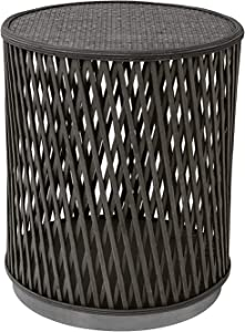 FINECASA Accent Side Table, Rattan End Table 21 x 17.75 Inches, Wicker Side Tables for Living Room, Bedroom, Small Spaces, Corner Table, Nightstand, Plantstand, Grey
