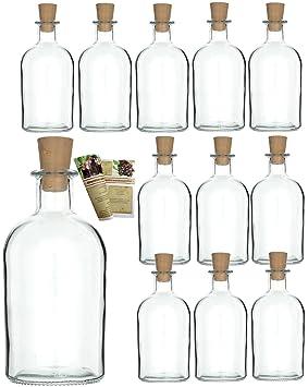 gouveo 12 botellas vacías de 250 ml con corchos, botellas de vidrio vacías, botellas