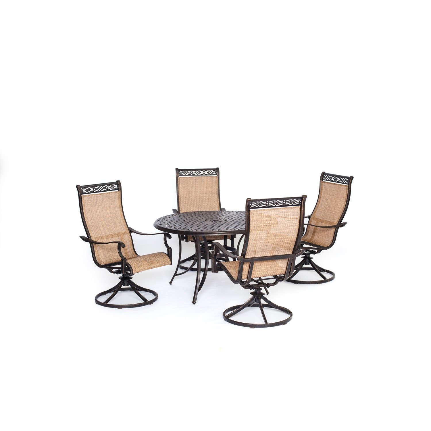 Amazon.com: Hanover Manor 5 Piece Outdoor Dining Set With Four Swivel  Rockers: Garden U0026 Outdoor