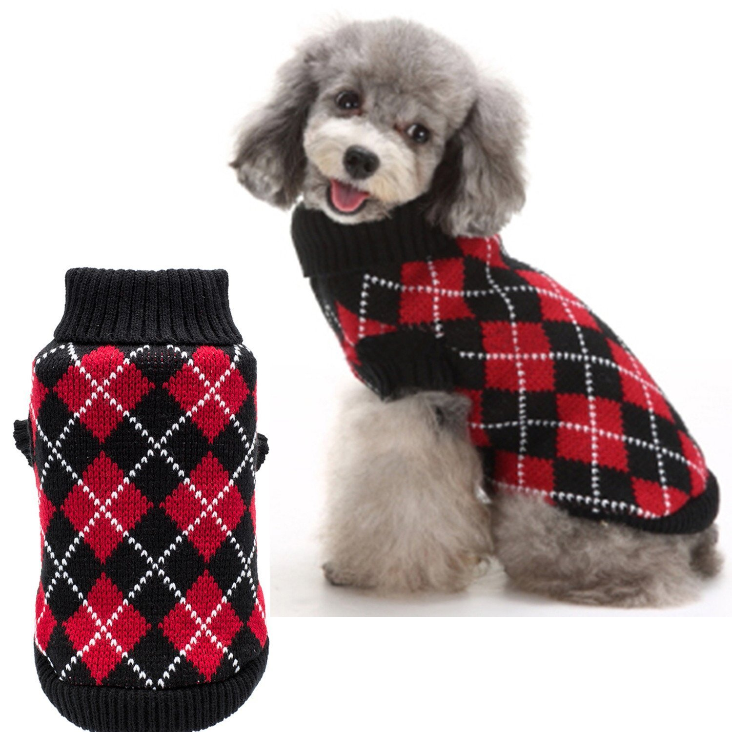 Amazon.com : Crochet Dog Argyle Sweater Knitted for Small Doggie ...
