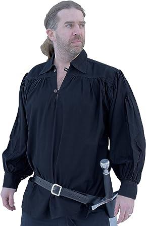 Battle-Merchant Camisa de caballero, color negro - Camisa medieval LARP Negro XXL
