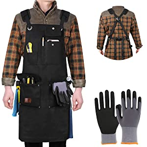 Aeegulle Work Apron, Heavy Duty Waxed Canvas Tool Apron (With work gloves), 6 Pockets, Thick shoulder pad, Quick Release Buckle, Cross-Back Straps Adjustable M to XXL, Apron for Men & Women