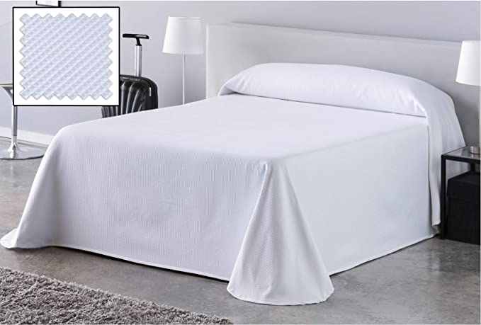 DHestia Hostelería - Colcha de Cama Blanca Hotel Tejido Colmena Nido de Abeja. (190x270 cm - Cama 90/105): Amazon.es: Hogar