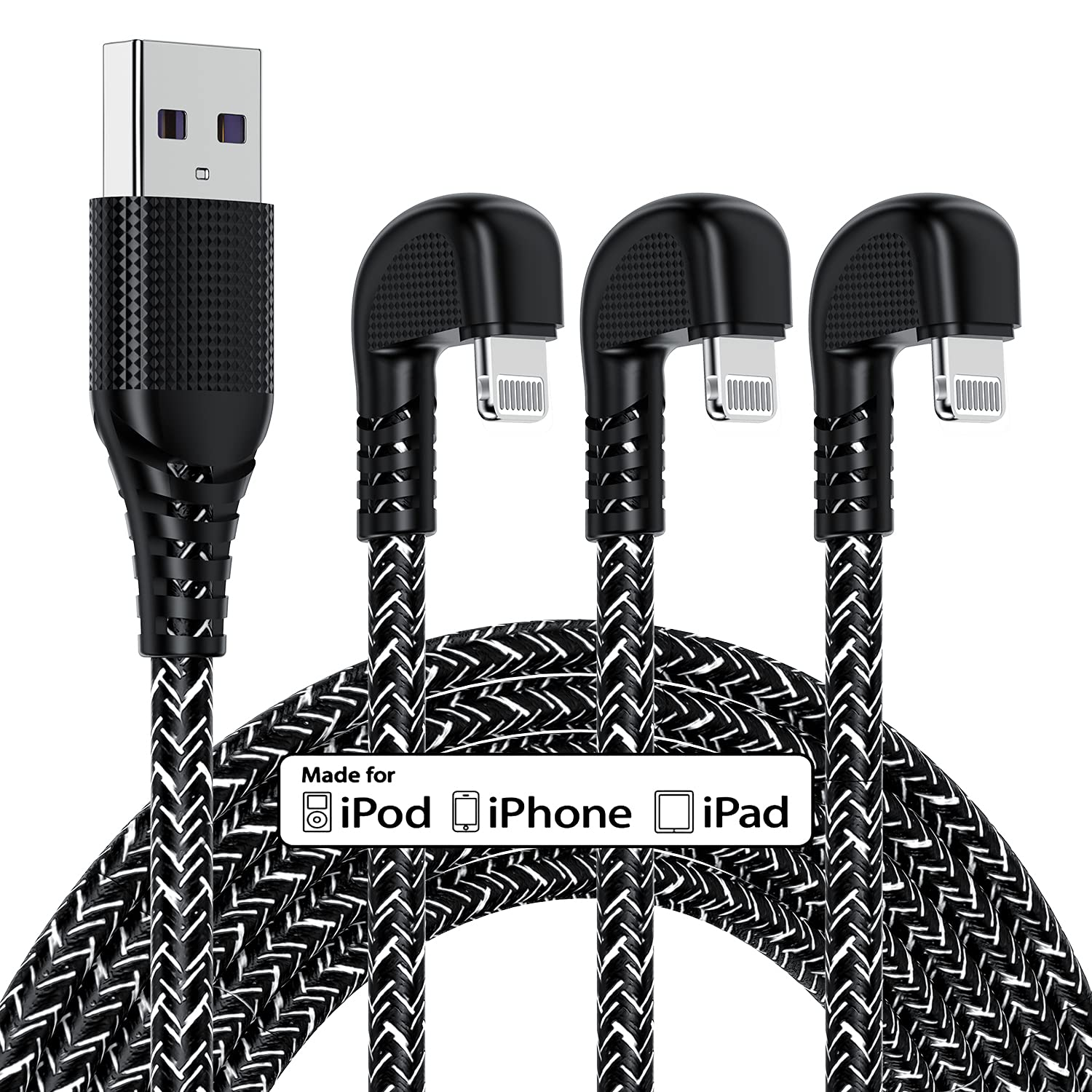 3 Pack 90 Degree Gaming iPhone Charger 10ft for [Apple MFi Certified], 10 Foot Right Angel Long Lightning Cable Nylon Braided Heavy Duty Charging Cable Cord for iPhone 11/11Pro/11Max/XS/XR /8/7/6S/SE