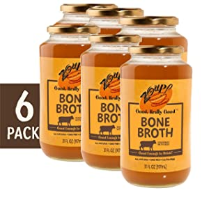 Beef Bone Broth by Zoup! - Gluten Free, Non GMO, Fat Free Beef Bone Broth - Great for Stock, Bouillon, Soup Base or to Drink, 6-pack of 31 oz Jars