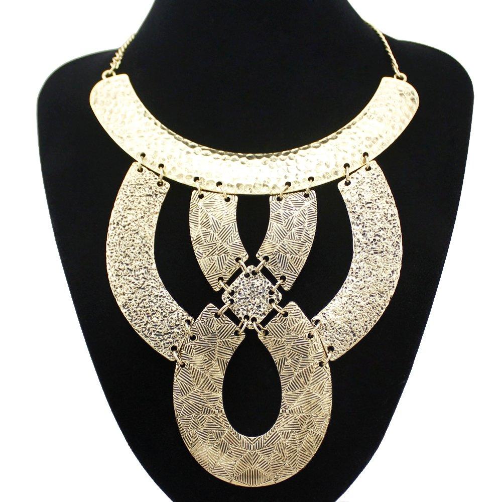 Q&Q Fashion Vintage Gold Cleopatra Egyptian Revival Vintage Gold Knot Carved Snake Gypsy Bib Necklace