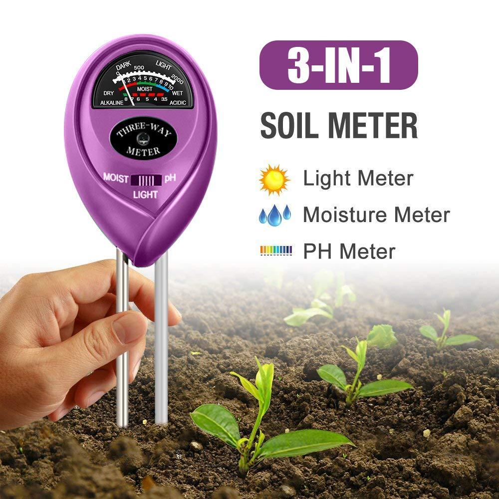 3-in-1 Soil Tester with Moisture Soil Moisture Meter/& Soil Water Monitor Billiony Soil Test Kit Light and PH Test for Garden/& Farm/& Lawn/& Indoor /& Outdoor