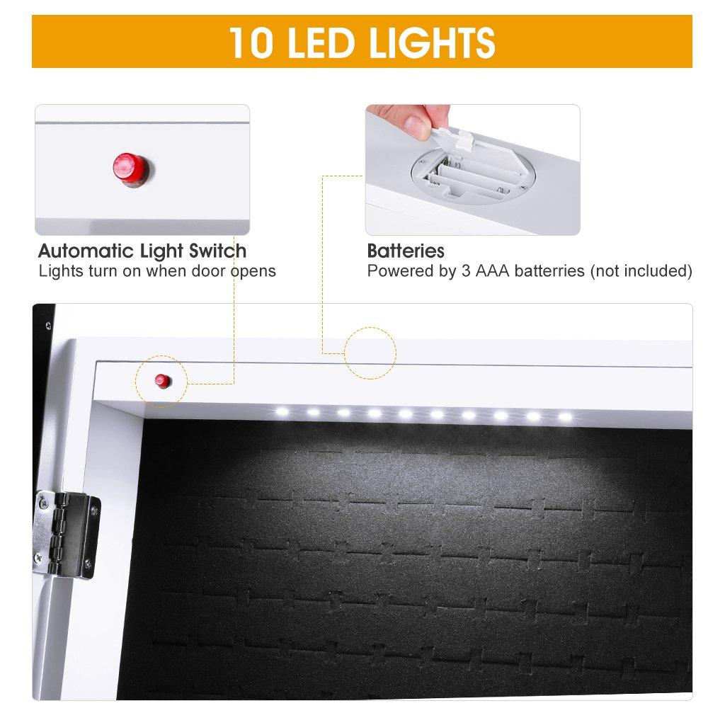 Amazoncom LANGRIA 10 LEDs Lockable Jewelry Cabinet FullLength