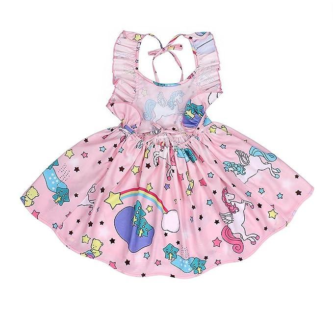 7ce460159 AmzBarley Vestido de Unicornio para niñas Vestidos de Princesa para niños  Vestidos de Fiesta para Arriba  Amazon.es  Ropa y accesorios