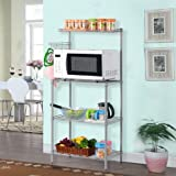 LANGRIA 3 Tier Microwave Stand Storage Rack, Kitchen Wire Shelving Microwave Oven Baker's Rack with Spice Rack Organizer,Silver Grey