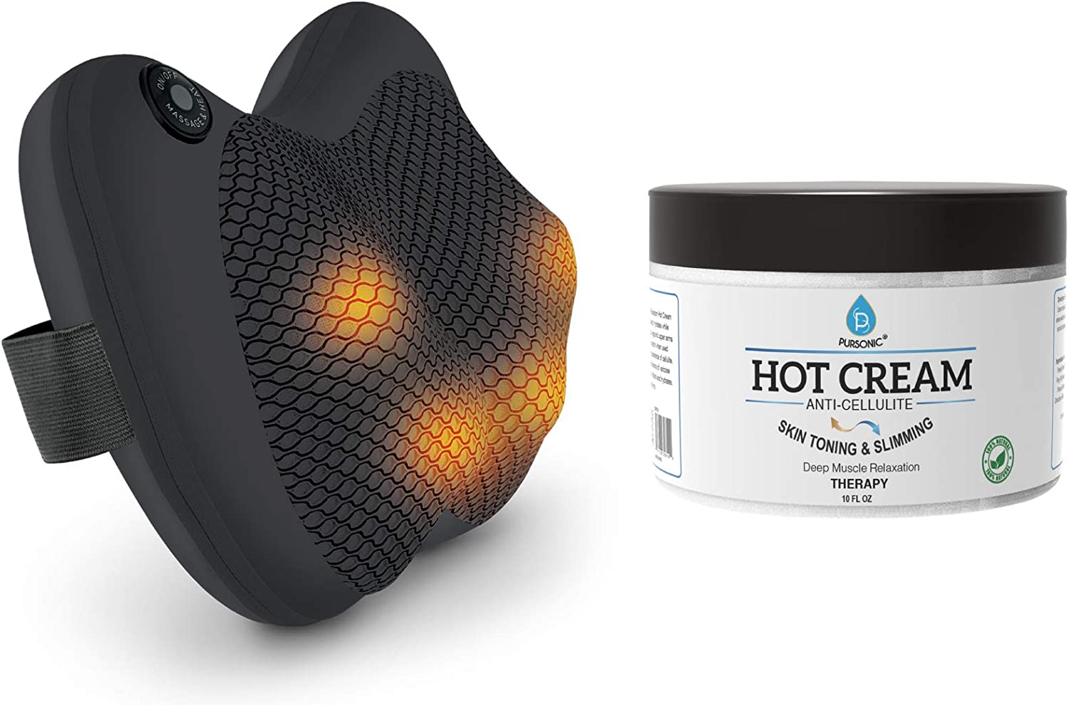 Pursonic Shiatsu Back and Neck Massager,Kneading Massage Pillow with Heat for Shoulders, Lower Back, Calf & Anti Cellulite Muscle Relaxation Hot Cream 10oz, Muscle Relaxant & Pain Relief Cream