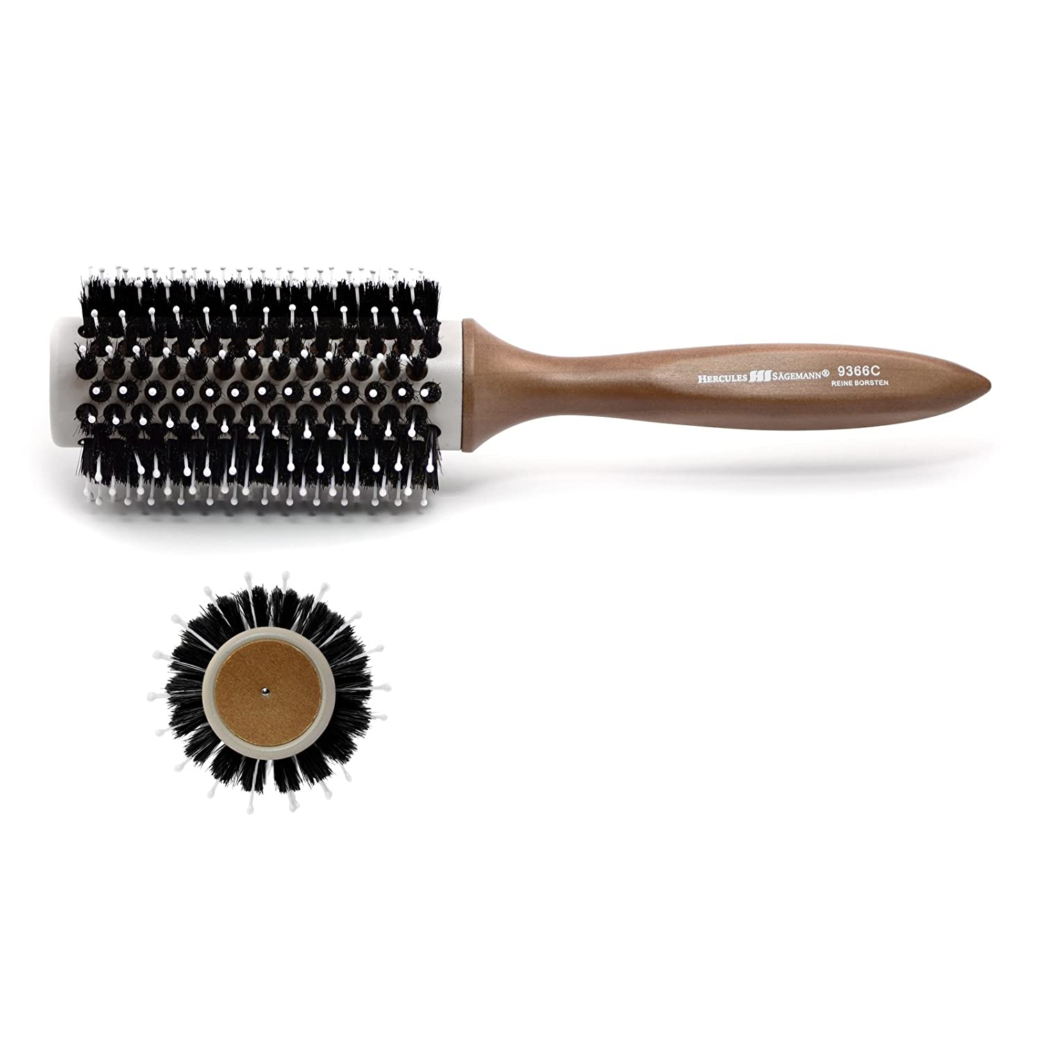 Hercules Sägemann Ceramic Convection Vent Brush with Natural Boar Bristles | Radial/Round Brush designed in Germany - For Hair Drying, Styling, Curling, Adding Hair Volume and Shine