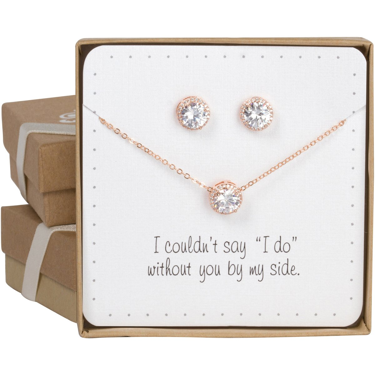 Bridesmaid Gifts - Pretty Halo Cubic-Zirconia Necklace & Earrings Set (18'', Rose gold) by Bride Dazzle (Image #1)