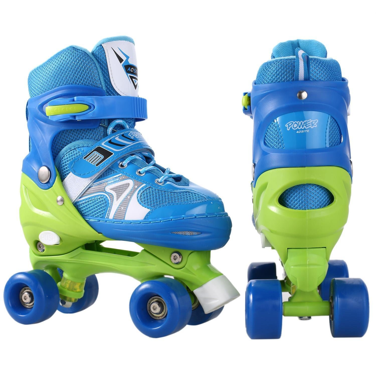 Kaluo Adjustable Double Row Skate Kids Roller Skates Rollerblades PP PVC Wheel Kid Children Indoor Outdoor(US Stock) (Blue, US 2 - 5)