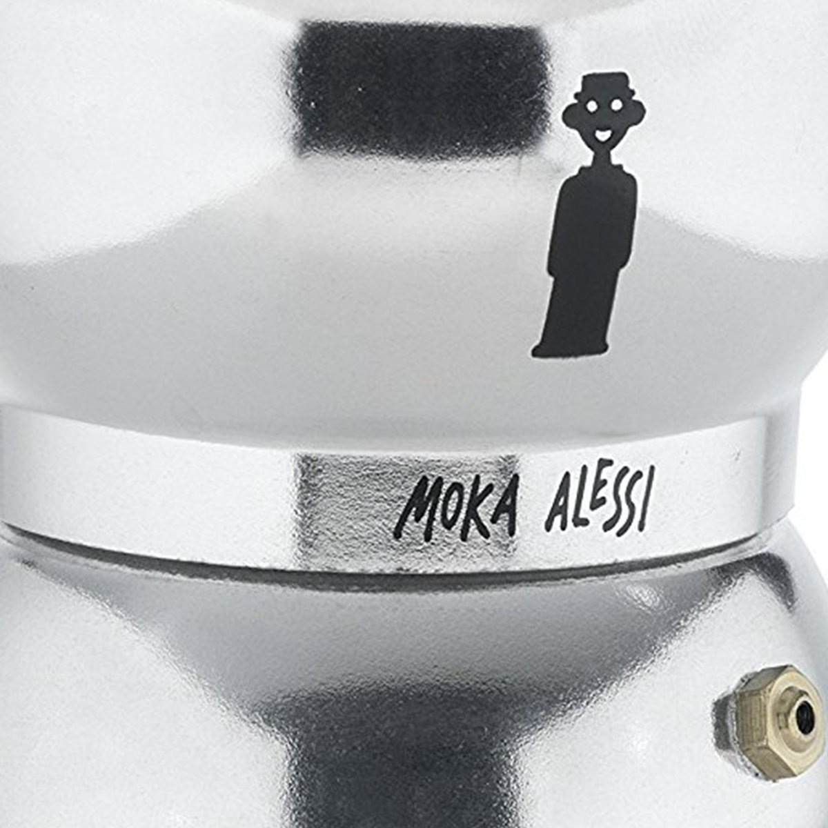Alessi AAM33/6 ''Moka'' Stove Top Espresso 6 Cup Coffee Maker in Aluminium Casting Handle And Knob in Thermoplastic Resin, Black