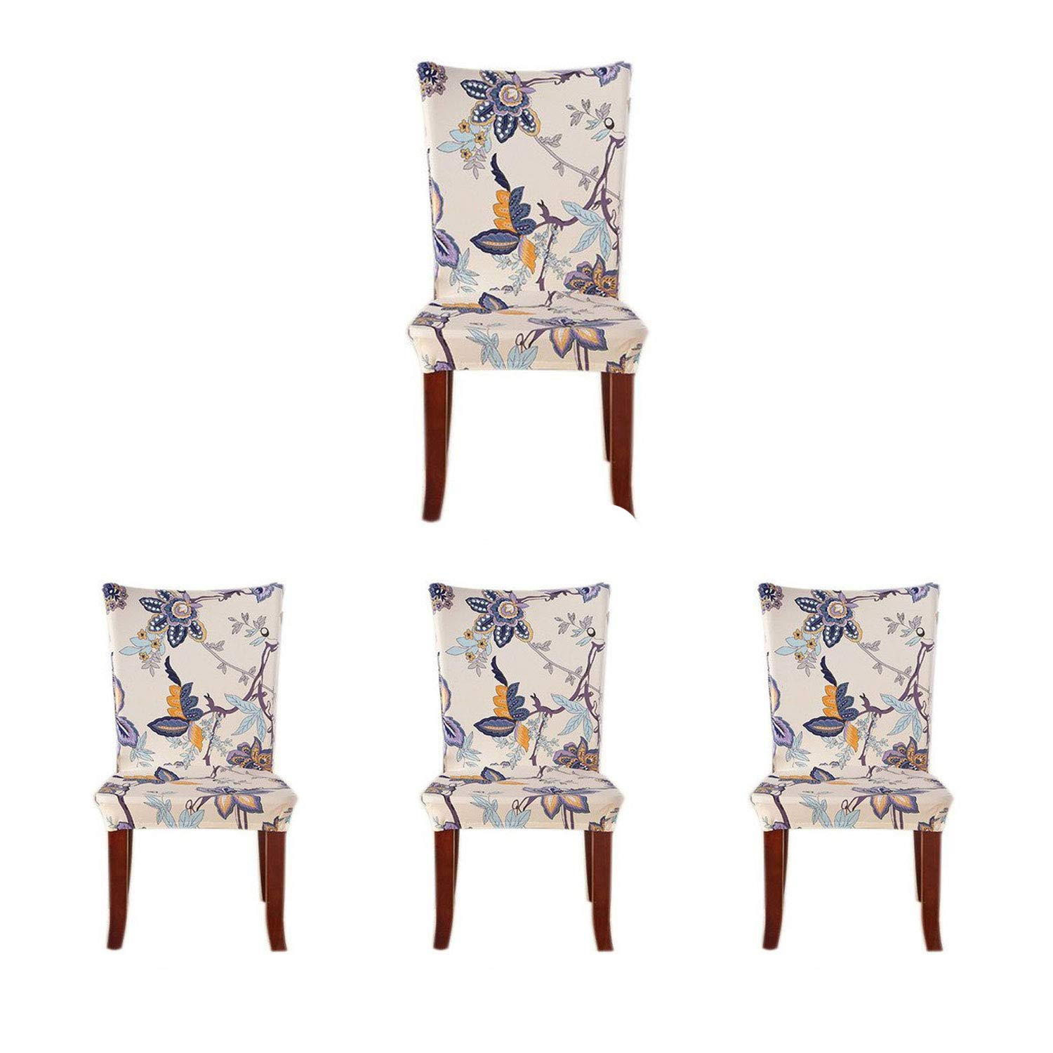 SoulFeel 4 x Soft Spandex Fit Stretch Short Dining Room Covers with Printed Pattern, Banquet Chair Seat Protector Slipcover for Home Party Hotel Wedding Ceremony (Style 26), Pack of 4, by SoulFeel