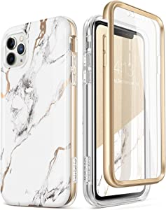 GVIEWIN Designed for iPhone 11 Pro Max Case 6.5 Inch, [Built-in Screen Protector] [Full Body] Marble Case Dual Layer Slim Glossy Shockproof Protective Phone Cover Cases (White/Gold)
