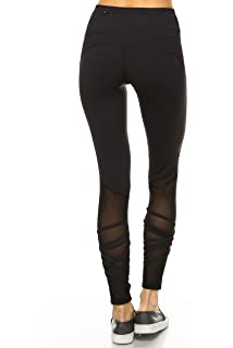 9265dd972ba1a6 Mono B Women's Performance Activewear - Yoga Leggings with Sleek Contrast  Mesh Panels