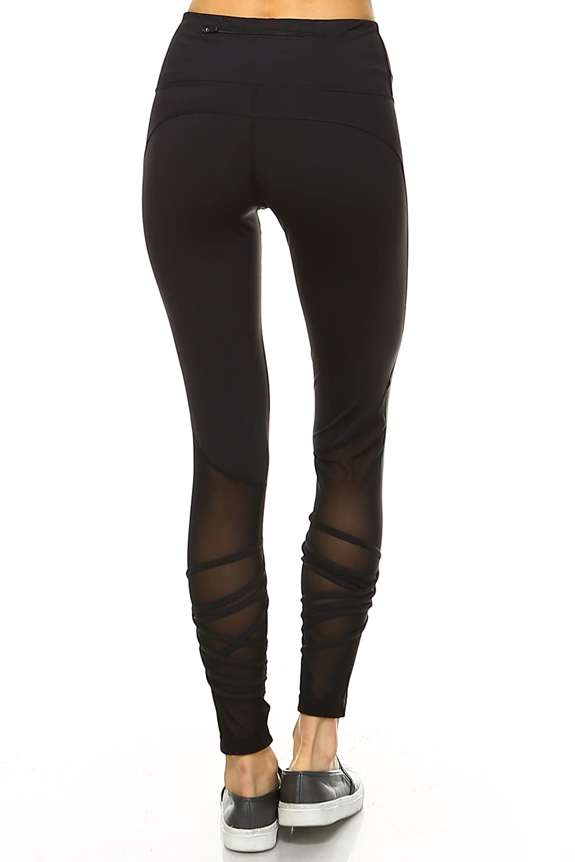 Mono B Women's Performance Activewear - Yoga Leggings with Sleek Contrast Mesh Panels