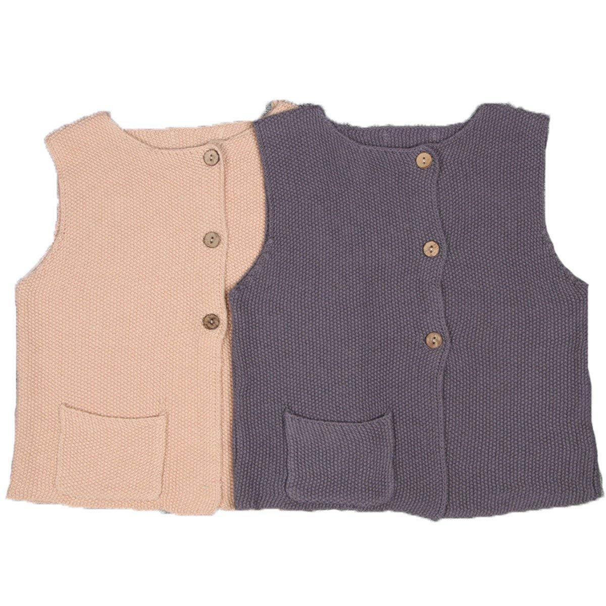 Toddler Girl Knit Front Button-Down Pocket Sweater Cardigan Waistcoat Vest