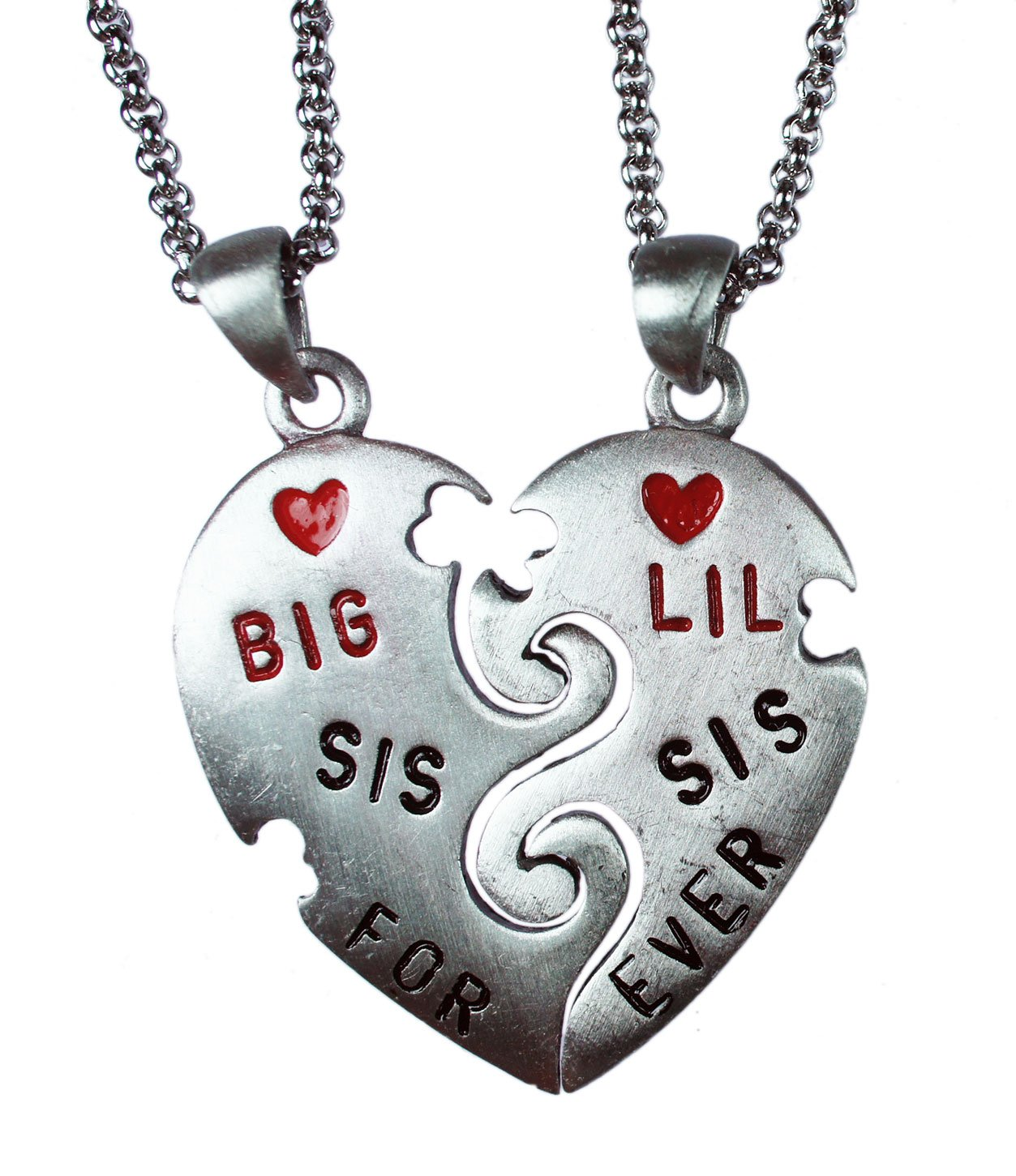 exoticdream BIG SIS LIL SIS Forever Split Pewter Pendant (18'' Stainless Steel)
