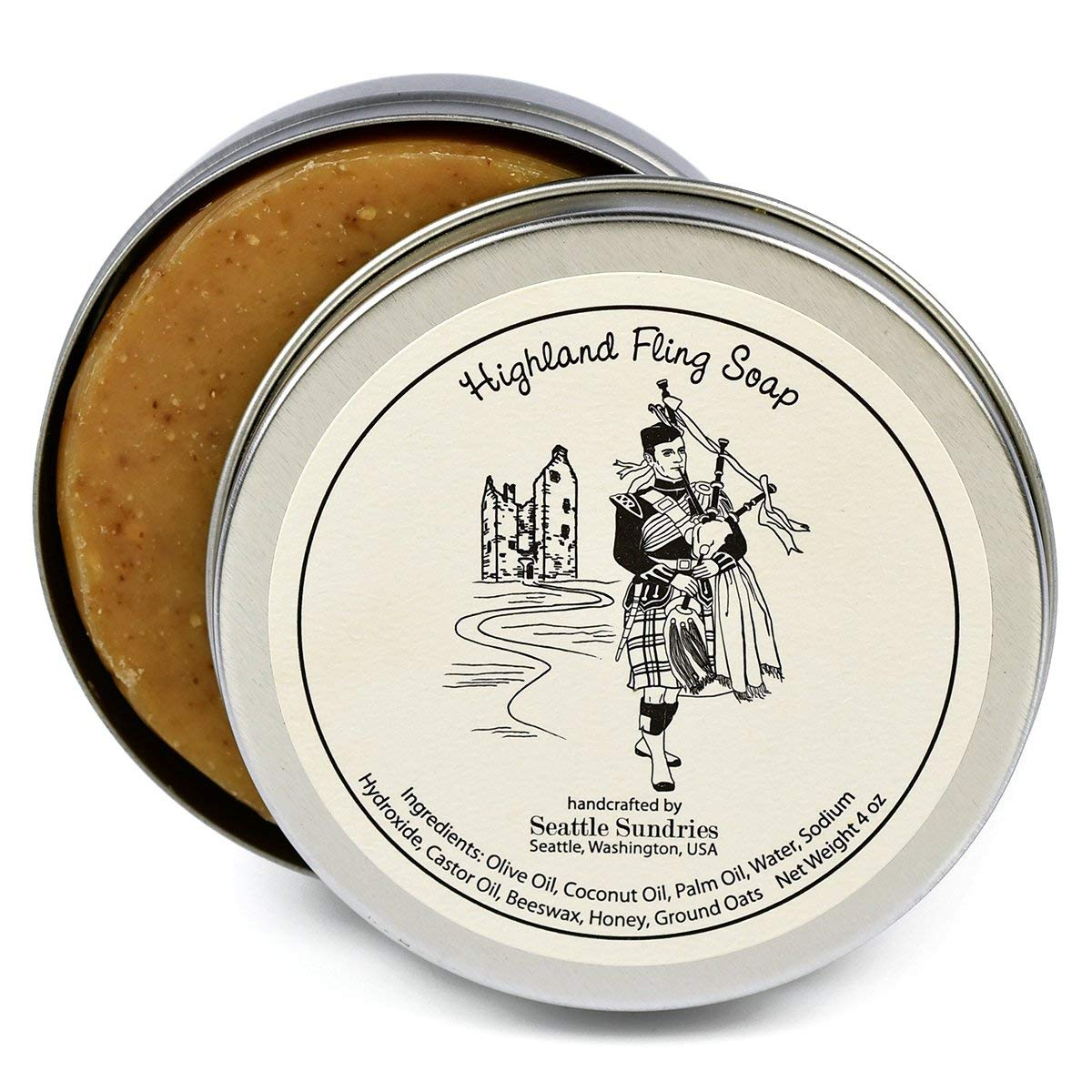 Highland Fling Soap-100% Natural Skin Care Bar. Unscented, with Honey & Oatmeal. One 4 oz Bar in a Handy Travel Gift Tin. Great For Scottish Bagpipe Lovers.