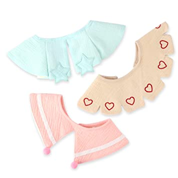 5-Pack Organic Absorbent Drooling & Teething Bib Cotton Age 0-36 Months Toddlers Drool Bibs with Snaps