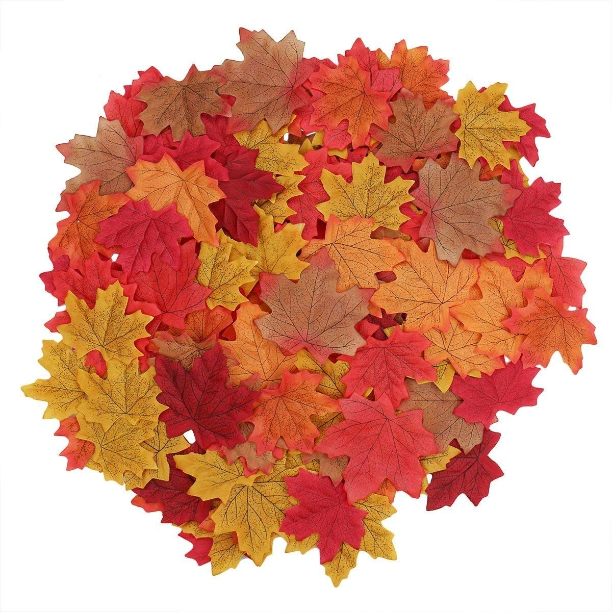 Luxbon Approx 300Pcs Artificial Autumn Fall Maple Leaves Bulk Multi Colors Great Autumn Table Scatters for Weddings /& Autumn Parties /& Events and Fall Decorating
