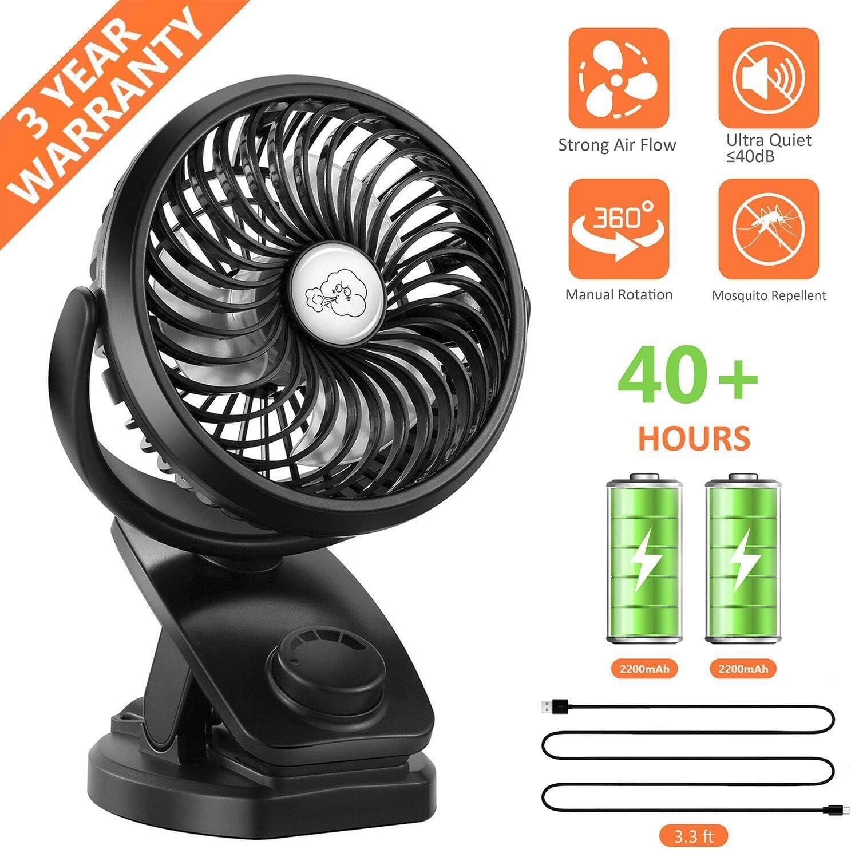 Fitfirst Ventilador USB Clip Mini 5000mAh Fan Silencioso Recargable Portátil Ventilador de Mesa Oscilante 360° Girar para Cochecito de Bebé, Coche, Gimnasio, Oficina, Viajar, Acampar, etc. (Negro)