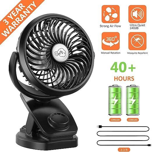 Fitfirst Ventilador USB Clip Mini 5000mAh Fan Silencioso ...