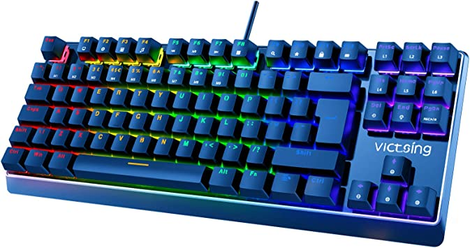 Teclado Mecánico Gaming de VicTsing, 104 Teclas y Switches Blue, con Cable y 6 Colores RGB Retroiluminado, Anti-Ghosting-Versión Español