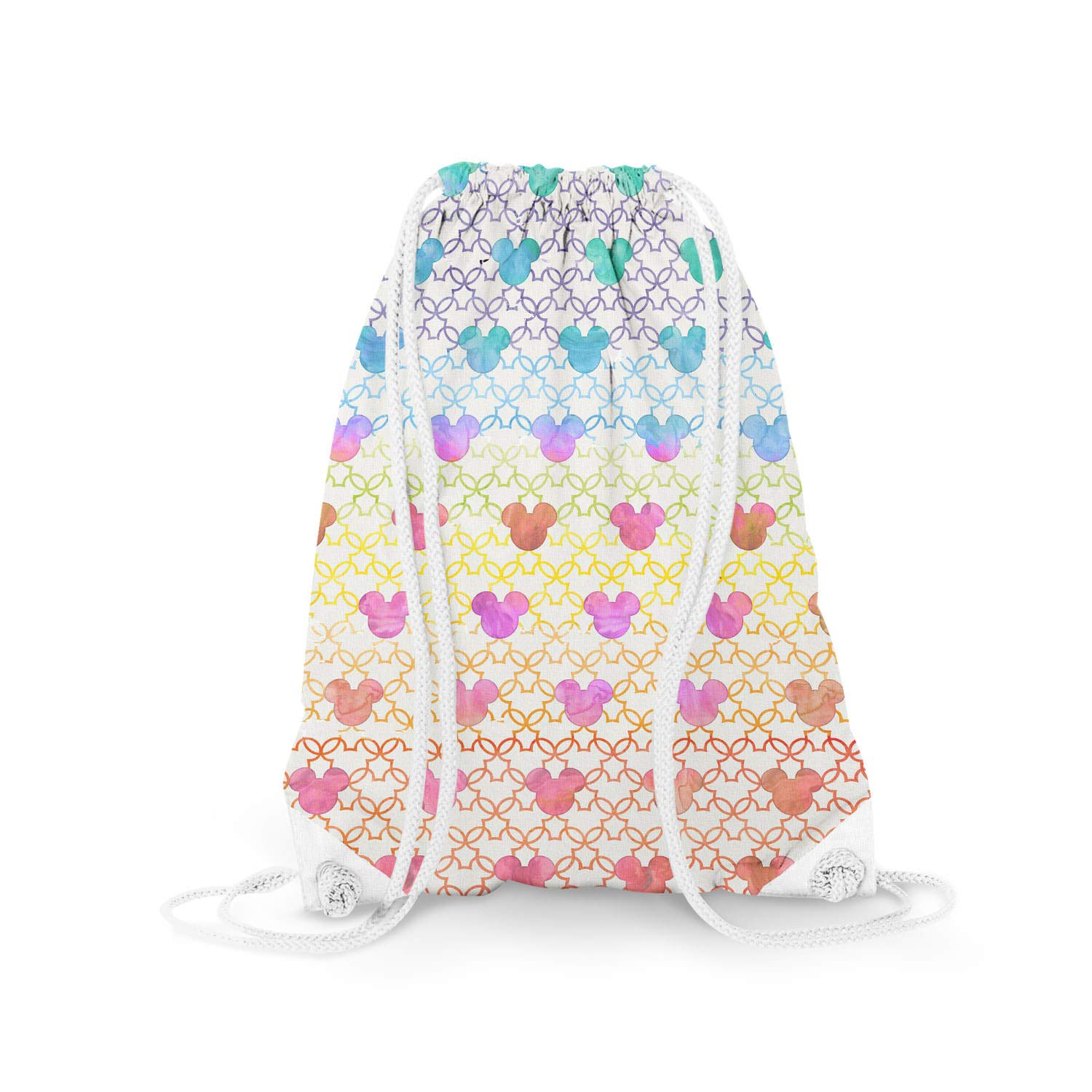 - Drawstring Bag Mouse Ears Watercolor Rainbow Light 11.7 x 14.6 Small