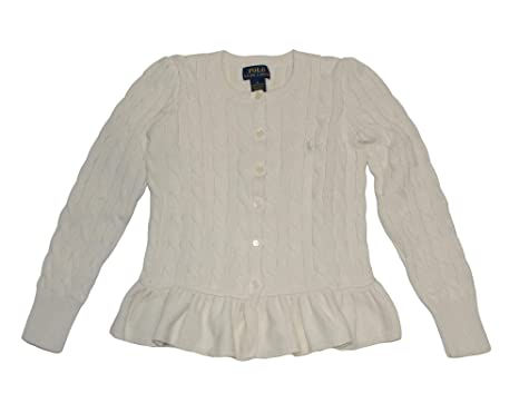 f1a1d530e Amazon.com  RALPH LAUREN Polo Girls Cotton Peplum Cable Cardigan ...