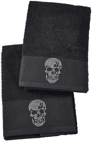 5 Motive schwarz oder silber Handtücher Frottee 2er-Set Handtuch Baumwolle