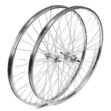 """Ruedas delantera y trasera Westrick 28 x 1 ½"""" de acero cromado para bicicleta clásica"""