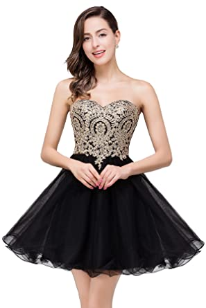 d1bc54fe099 MisShow Gold Rhinestones Lace Homecoming Dresses Short Cocktail Gowns Black  US2