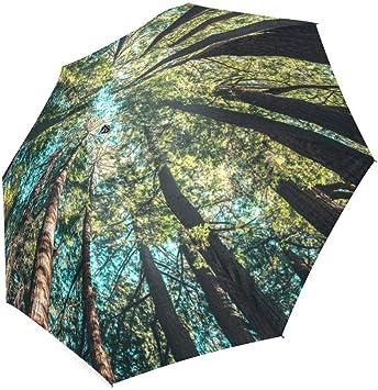 Folding Umbrella Rainproof /& Windprrof Umbrella Forest Custom Umbrella Automatic