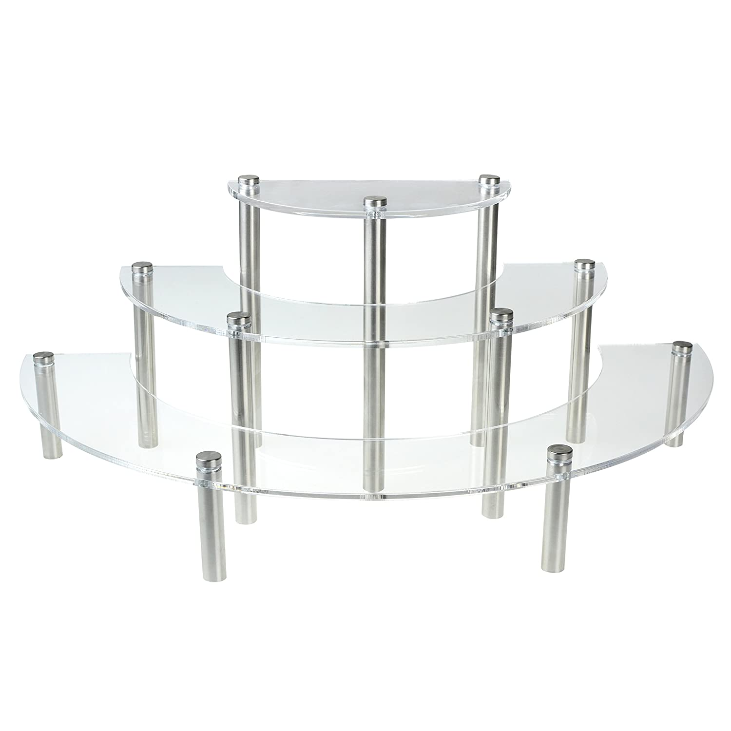 Amazon.com: Clear Acrylic 3 Tier Half Moon Shelf Unit, Table Top Retail  Display Riser, Spice Jar Rack: Home U0026 Kitchen
