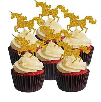 Swell Unicorns Cake Topper 30Pcs Pcs Twinkle Diy Glitter Gold Unicorns Personalised Birthday Cards Vishlily Jamesorg