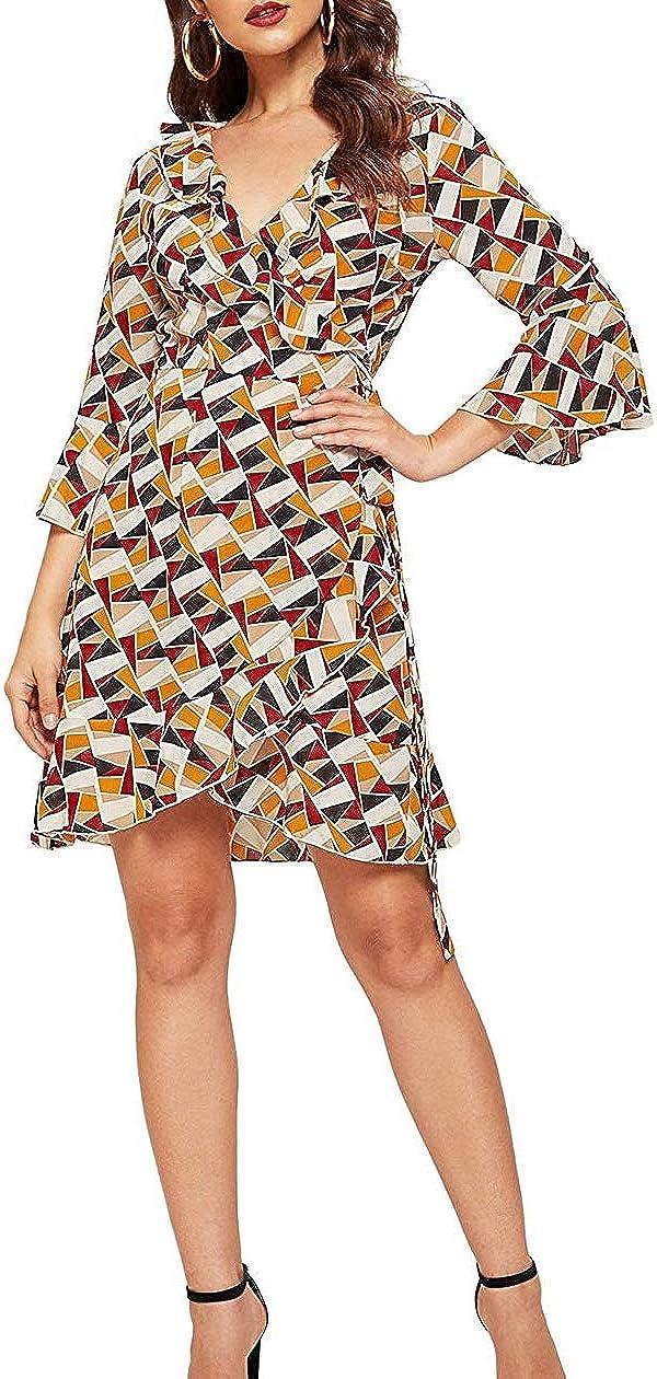 BarbaraNoble Womens Flounce Sleeve Tiered Wrap Floral Print Short Dress