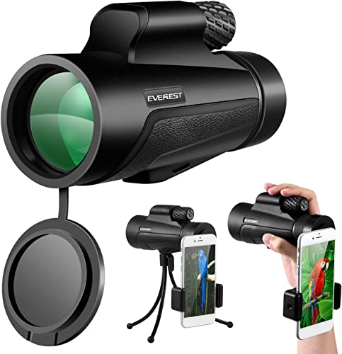 Monocular Telescope 12×50 High Power Scope with Phone Mount and Tripod Compact Scope with BAK4 Prism FMC for Adults Hunting Camping Travelling Wildlife