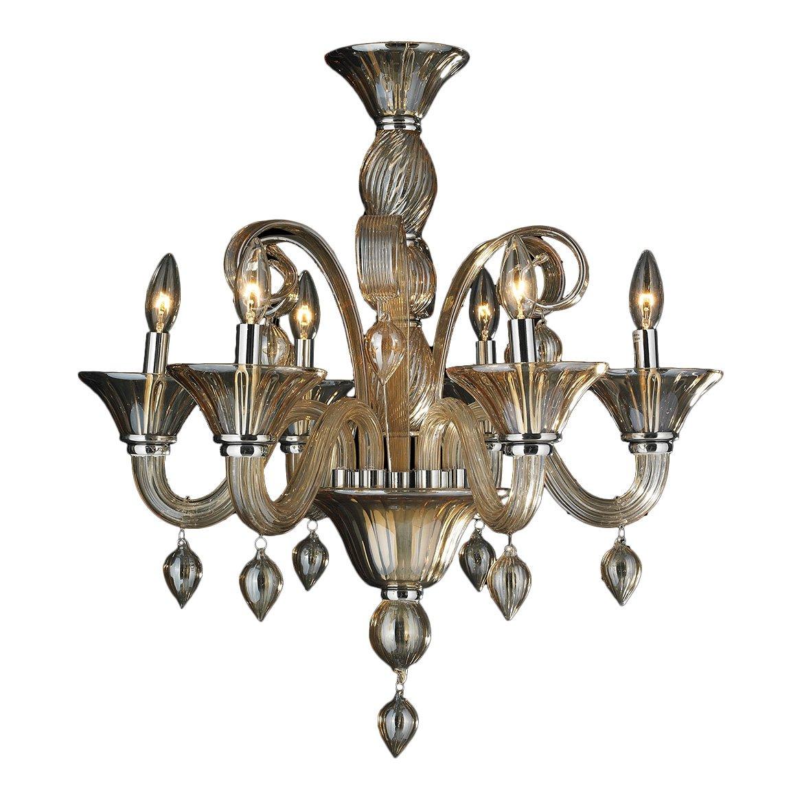 Worldwide Lighting Murano Collection 6 Light Blown Glass in Amber Finish Venetian Style Chandelier 23'' D x 27'' H Medium
