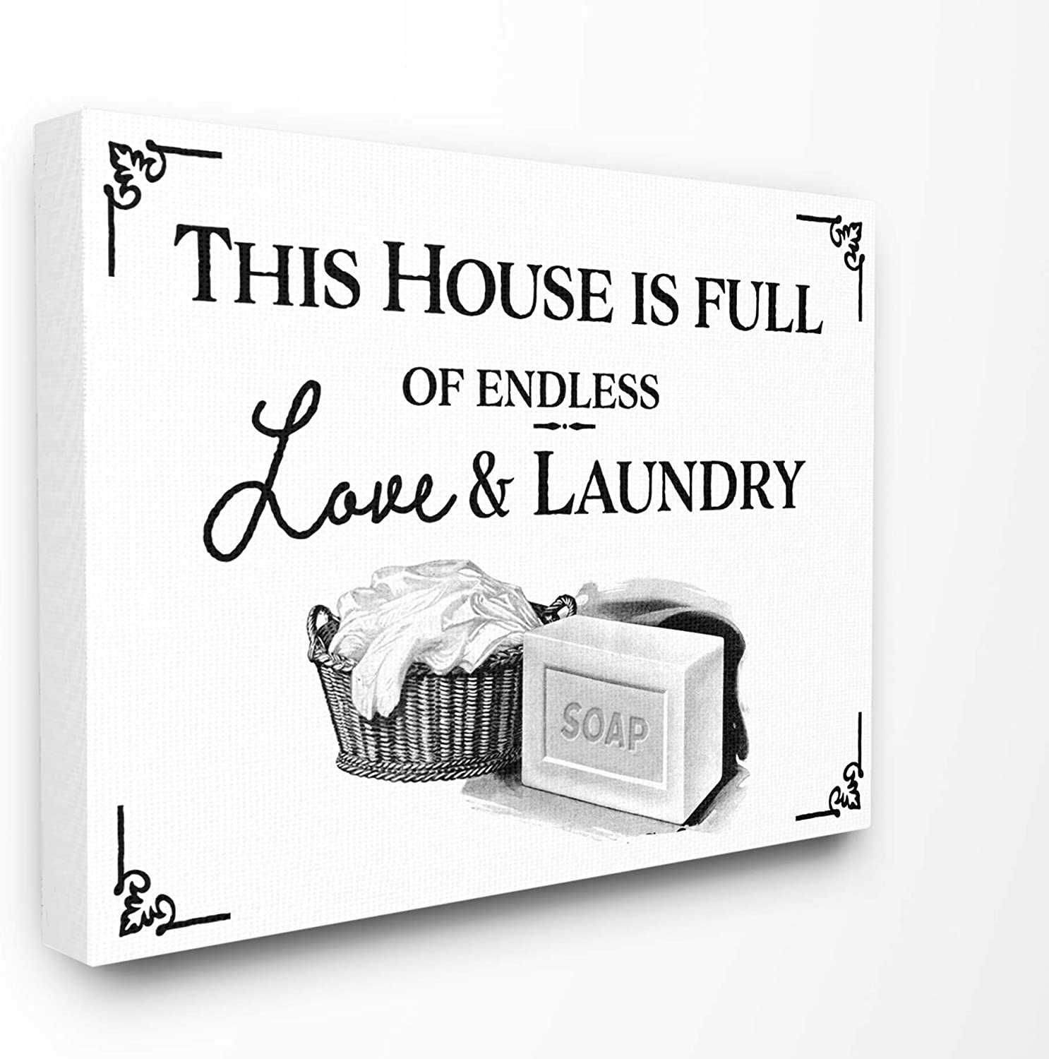 Stupell Industries Endless Love and Laundry Bathroom Word Canvas Wall Art, 24 x 30, Design by Artist The Saturday Evening Post