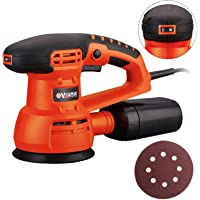 Vollplus 430W Corded Orbital Sander 125mm Pad Size, 6 Variable Speed 5000-13000RPM Electric Random Orbital Sander with Dust Collector for Home Decoration and DIY VPFS1010