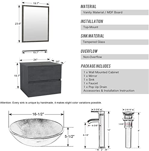 eclife 24 Bathroom Vanity Sink Combo Wall Mounted Concrete Grey Cabinet Two Drawers Vanity Set Brown Round Tempered Glass Vessel Sink Top, W ORB Faucet, Pop Up Drain Mirror A09E02CC