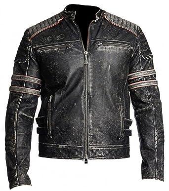 Retro 1 Mens Cafe Racer Vintage Distressed Biker Black Leather Motorcycle Jacket