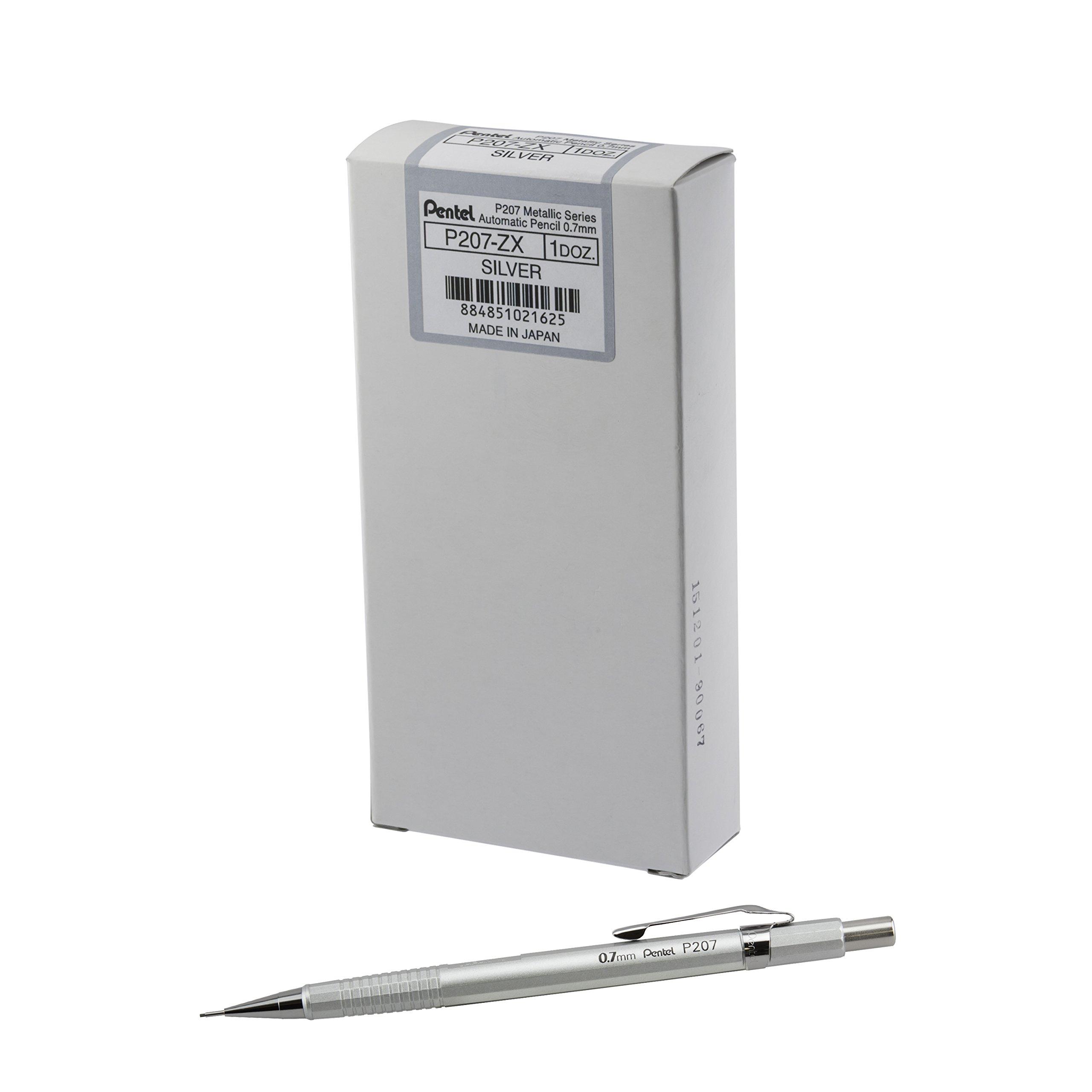 Pentel Sharp Mechanical Pencil (0.7mm) Metallic Silver Barrel, Box of 12 Pencils (P207Z) by Pentel